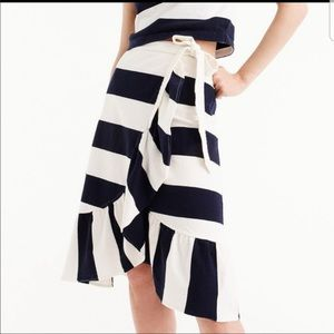 J. Crew rugby striped ruffle wrap skirt NWT